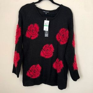 Cable & Gauge Black Rose Sweater NWT Large